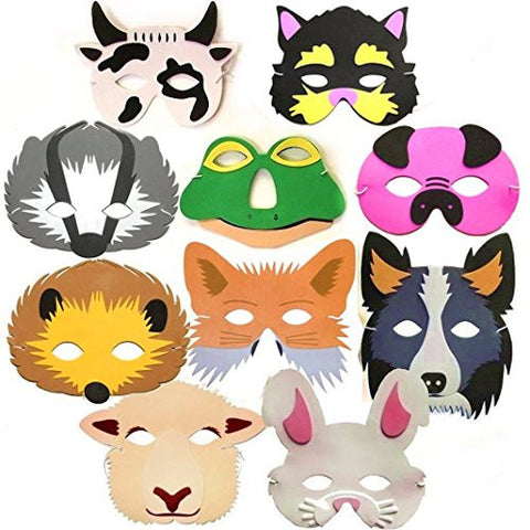 10 Woodland & Farm Animal Foam Childrens Face Masks made by Blue Frog Toys