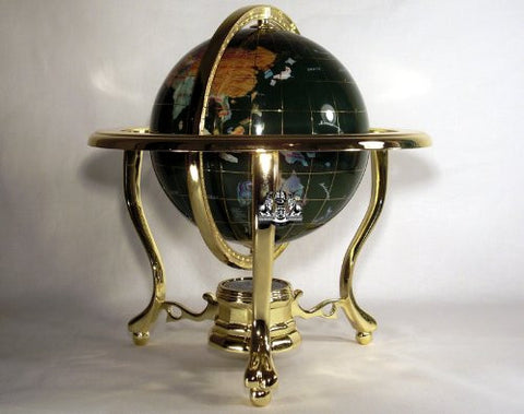 "10"" Tall Malachite Ocean Table Top Gemstone World Map Globe with 3-leg Gold Stand"