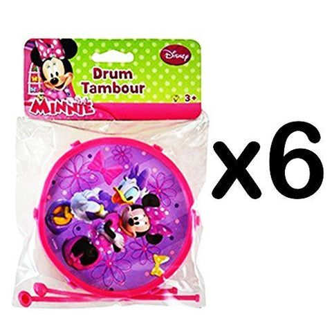 (6) Mini Kids Plastic Drums with Sticks Nickelodeon Disney CHARACTER: Minnie (LOT OF 6) -RM2638