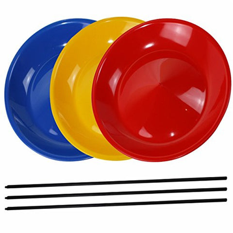 3 Spinning Plates / Juggling Plates with Plastic Stick, Mixed Colours, Sold by SchwabMarken