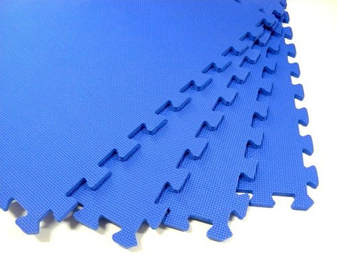 "120 Square Feet ( 30 tiles + borders) 'We Sell Mats' Blue 2' x 2' x 3/8"" Anti-Fatigue Interlocking EVA Foam Exercise Gym Flooring"