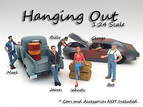 """Hanging Out"" 6 Pieces Figure Set For 1:24 Scale Models by American Diorama 23953-23954-23955-23956-23957-23958"