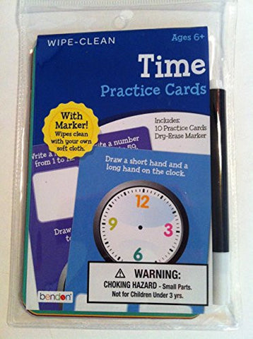 """Bendon - Wipe Clean TIME Practice Cards with Marker "" Ages 6+ (10) cards"