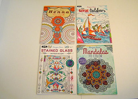 "4 Different ""Designer Series"" Coloring Book Bundle Stress Management, Self-Help, Stained Glass, Great Outdoors, Mandalas to Color, and Henna to Color. 30 Pages per Book"