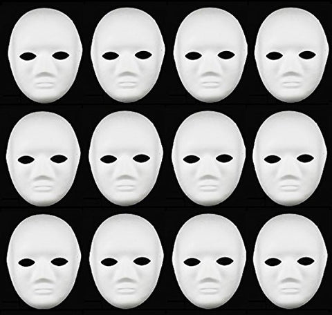 12pcs DIY Full Face Halloween Mask White Female Unpainted Mask