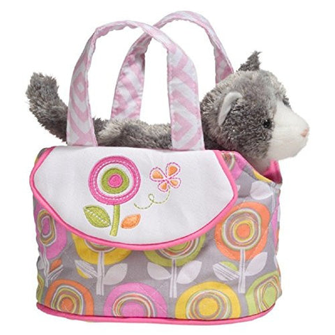 "7"" W, Pastel Garden Tote with Stuffed Grey Cat"