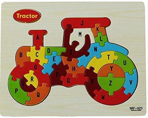 26-piece Wooden Letters Puzzle Toy, Perfect For Children To Develop Intelligence Learning There Alphabet Wooden Jigsaw Puzzle Toys for Children 1-3 years old, Tractor