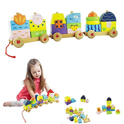 1 pc Colorful Funny Educatinoal Toys Toddler Baby Kids Building Block Wooden Train Toy Train Cars Collection,Perfect Birthday Gift Xmas Gift for 2-5 Years Children