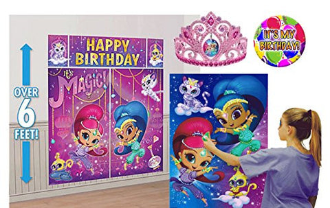 """Shimmer & Shine"" Photo Booth Scene Setter Backdrop Decoration & Party Game Poster! Plus Bonus Shimmer & Shine Birthday Girl Tiara & ""It's My Birthday Pin"""