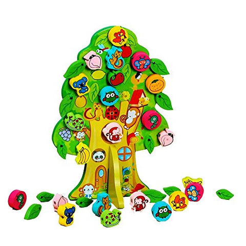 1 Pack Cute Wisdom Animal Fruit Tree Wooden Animal Lacing Christmas Trees Stringing Beads Toys with Tree Board Wooden Beads Interspersed Toys Gift for Toddlers