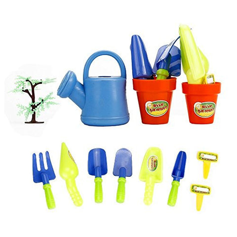 12 Pieces, Thick Sturdy & Durable Plastic Gardening Tools Set for Kids