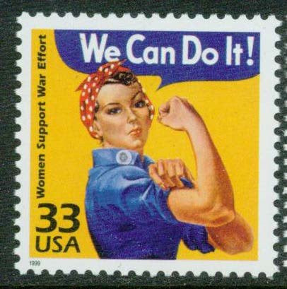 """WE CAN DO IT!"" Women Support World War II effort. Postage Stamp Mint Never-hinged"