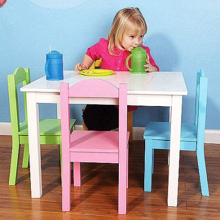 Tot Tutors Wood Table and Chair Set, Pastel /Model:TC715 /Color: Pastel