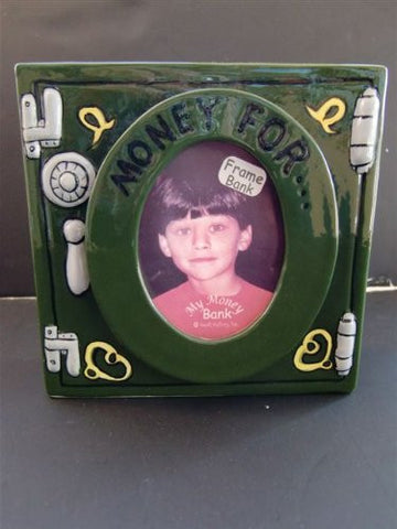"""Money For..."" Safe Design Porcelain Bank - Hand Painted"