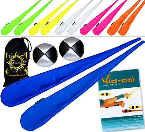 "2 Sock Poi, Spinning Poi, A Pair of High Quality Stretchy Lycra Poi Socks, with 2 Balls and ""Kid Poi"" Instructional DVD! (Blue)"