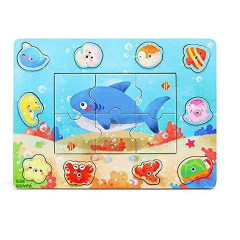 16 Pieces Magnetic Wooden Fishing Game 3D Shark Puzzle Basic Children Education Toy With 2 magnetic Fishing Poles