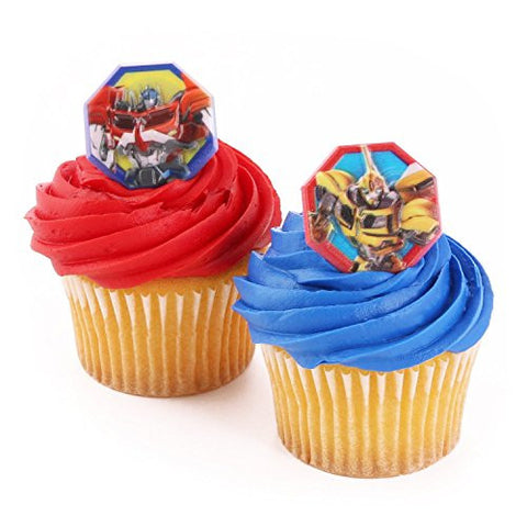 "1-3/8"", Assorted Transformers Themed Party Cupcake Rings, 24 Piece"