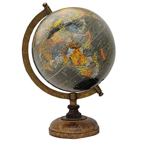 13 Decorative Rotating Globe Black Ocean World Geography Earth Table Decor