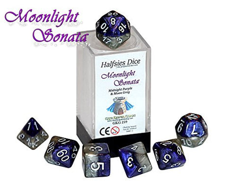 """Moonlight Sonata"" Halfsies Dice - 7 die polyhedral rpg gaming dice set - Midnight Purple & Moon Grey"