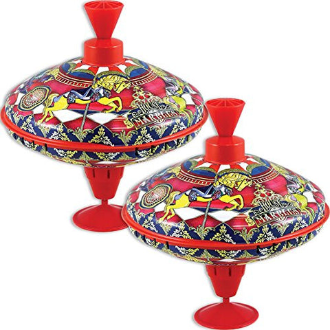 (Set/2) House Of Marbles Retro Classic Spinning Big Top Humming Tin Carousel
