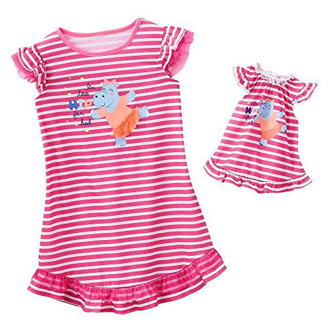 """Hip to Be Me"" Dollie & Me Nightshirt Set, Pink/White Stripe, Size 5"
