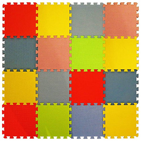 16 Piece X-Large Foam Soft Tile Mat ideal Gift Toy Child & Baby Room Safe Playmat, Interlocking Puzzle Multi Color flooring Eva Foam Exercise Yoga Pilates Toddler infant Game Play Area Yard Superyard