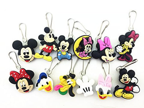 12pcs Mickey and Friend Zip Pull & Zipper Pull Charms for Jacket Backpack Bag Pendant