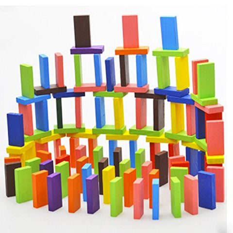 120pcs Authentic Basswood Standard Wooden Kids Domino Blocks Set 12 Colors Racing Educational Toy Game,Christmas Thanksgiving gifts for children