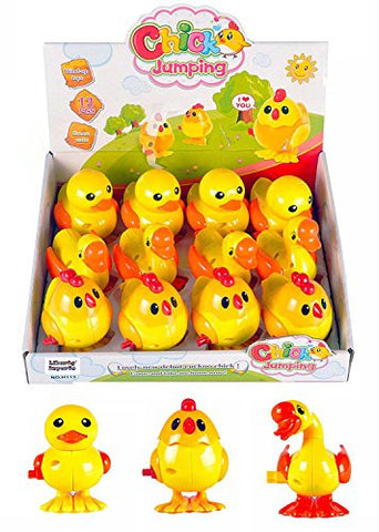 1 Dozen Wind-Up Jumping Chicken Duck Goose Assortment Party Favors (Pack of 12)