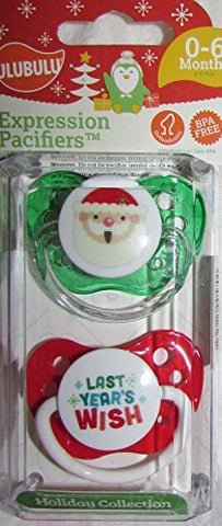 0-6 Months Expression Pacifiers Holiday Collection Package of 2 Pacifiers Last Year's Wish / Santa by Ulubulu