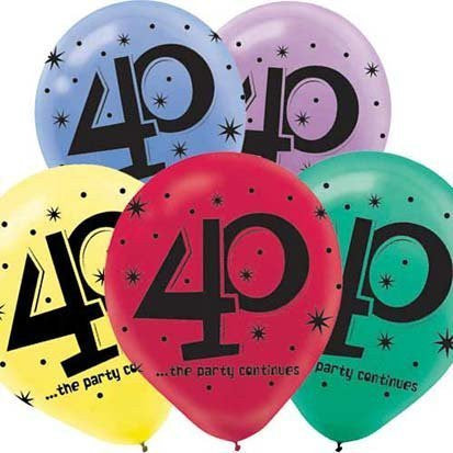 """40"" Printed 12in Balloon Assortment 15ct"