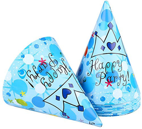 12pcs Large Paper Kids Funny Hats Cone Birthday Caps of Birthday Party Favor Supplies & Decorations (happy party)