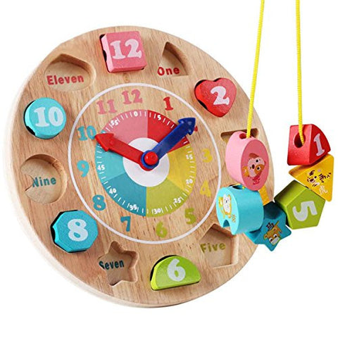 Baby Matching Toy Clock Geometry Bulding Bolck Kids Shape Sorting Bricks Educational Cute Number Stacking Education Wooden Doll