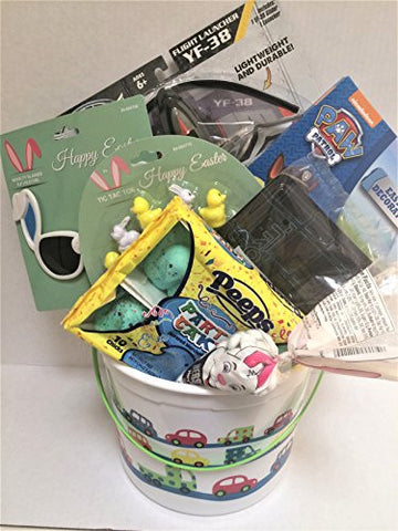 """Boys Easter Basket with Airplane. Paw Patrol Egg Coloring, Bunny Sunglasses, Hershey Kiss candy, Peeps, Bunny Tic-Tac-Toe game, """