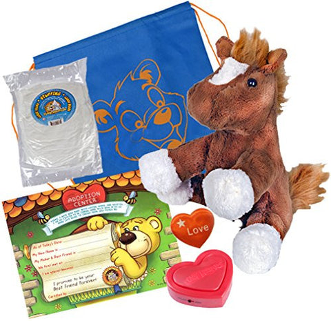 """Chestnut"" the Pony (16"" Plush) w/Heart shaped Voice recorder (No-Sew DIY Build-a-Plush Kit)"