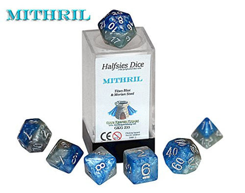 """Mithril"" Halfsies Dice - 7 die polyhedral rpg gaming dice set - Titan Blue & Morian Steel"