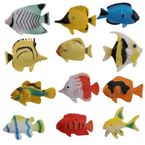 12 Colorful Plastic Tropical Fish Sea Animals Model Kids Party Toy Xmas Gift