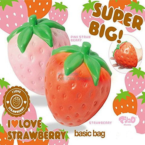 12CM Jumbo Cute Strawberry Phone Straps Squishy Slow Rising Pink Red Straps Sweet Cream Charms Pendant Bread Kids Toy Gift by Prettyworld