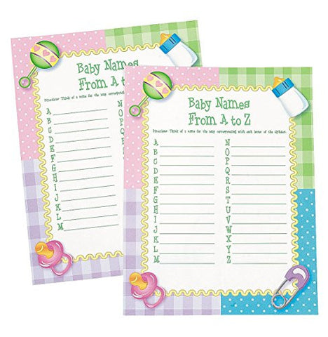 """Baby Names From A To Z"" Baby Shower Game - 24 sheets"