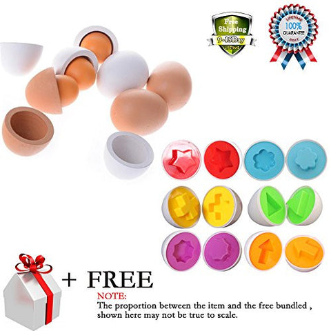 12 Pcs Smart Capsule Wooden Easter Egg Kids Baby Study Color Shape Blocks Puzzle Educational Toys Yolk Pretend Children Play Kitchen Game Cook Food