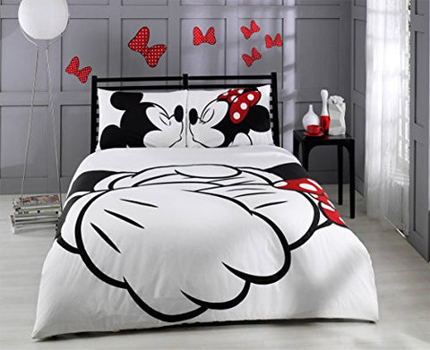100% Cotton 6pcs Disney Minnie Loves Kisses Mickey Mouse Full Size Duvet Quilt Cover Set Heart Theme Bedding Linens