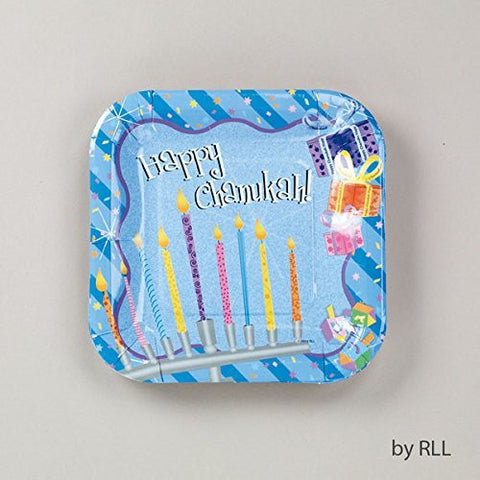 """Chanukah Sparkle"" TM Square Paper Plates - 7"", 8/Package"