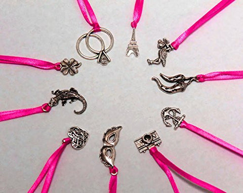 10 Cake Pull Charms with Pink Satin Ribbon - Set of ten classic cake pulls game for bridal shower wedding bachelorette party