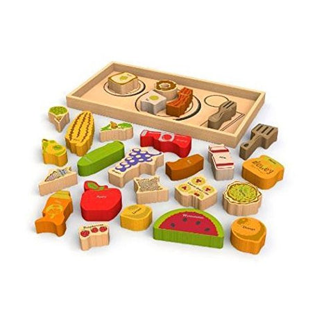 (USA Warehouse) NEW BeginAgain Alphabites A to Z Wooden Puzzle and Playset 26 Piece Food Serving **ITEM#NO: 43E8E-UFE6 C2A30372