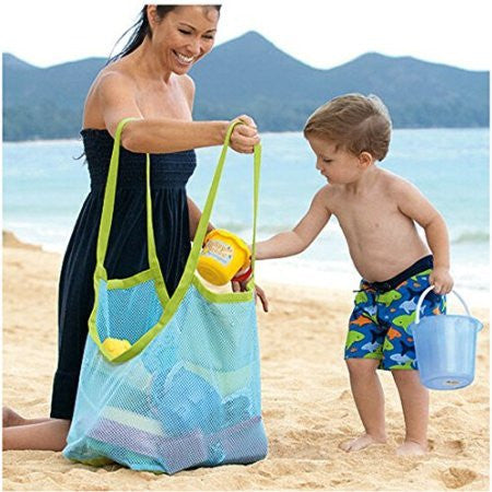 5Shome® Extra Large Family Mesh Beach Bag Tote Backpack Toys Towels Sand Away,Blue