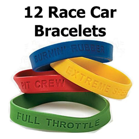 "12 ~ Race Car Rubber Bracelets ~ Burnin' Rubber, PIT Crew, Extreme Speed, Full Throttle ~ 8"" Circle ~ New"