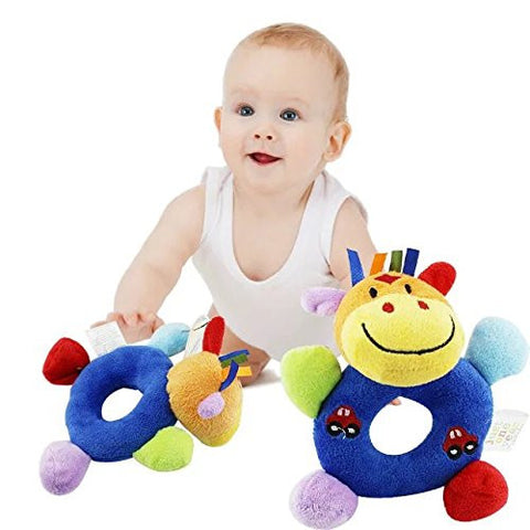 1 pc Baby Hand Bell Toy Newborn Baby Wrist Rattle Learning Stuffed Animal Toys Model Catoon Doll Soft Cutie Rattles Kids Lovely Plush Toy
