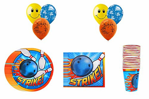 "*NEW* Bowling ""STRIKE!"" Party Pack ~ Dinner Plate, Dinner Napkin, Cups & Balloons"
