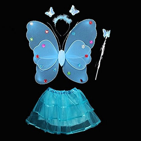 4 Pcs Wings Wand Set for Baby Girls Dress up Birthday Halloween Party Favor Gift (Blue)