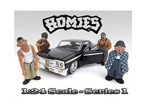 """Homies"" Figure Set of 4pc For 1:24 Scale Model Cars by American Diorama"